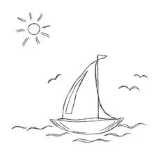 Vector, illustration, sketchy, boat