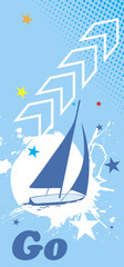 Blue sea background with white splash.Yacht vertical banner.Go t