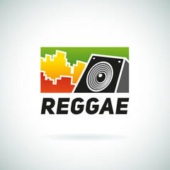Reggae music equalizer sound logo emblem vector design. Positive