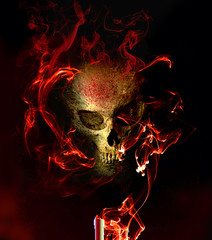 Seance With Evil Grinning Skull in Smoke