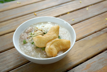 Pork porridge with ginger and coriander