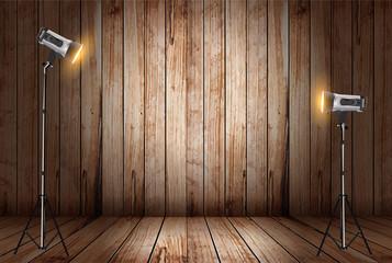 Vector photo studio in old wooden room