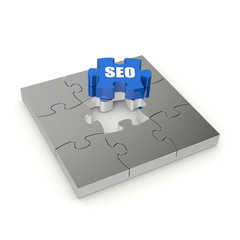 Blue SEO puzzle on white background