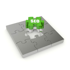 Green SEO puzzle on white background