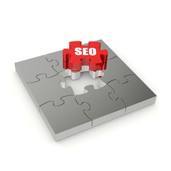 Red SEO puzzle on white background
