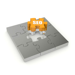 Yellow SEO puzzle on white background