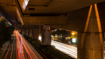 speed light on street at night in bangkok ,Thailand