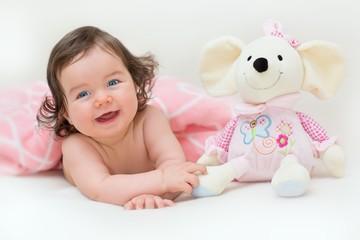Laughing beautiful baby girl