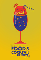 Food and Cocktail festival poster ,Relax concept