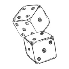 Vector Sketch Two Dices. Casino Icon.