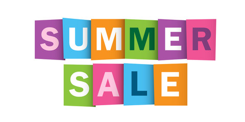 SUMMER SALE Multicoloured Overlapping Vector Letters