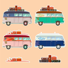 Vector illustration of a retro travel van