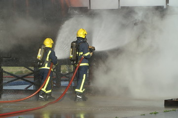 firefighters at large blaze