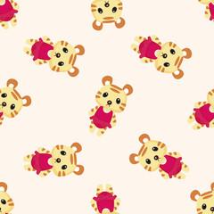 animal tiger summer cartoon ,seamless pattern