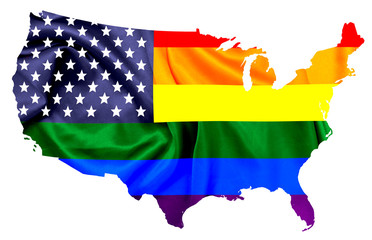 LGBT flag colors combined with U.S flag over contour