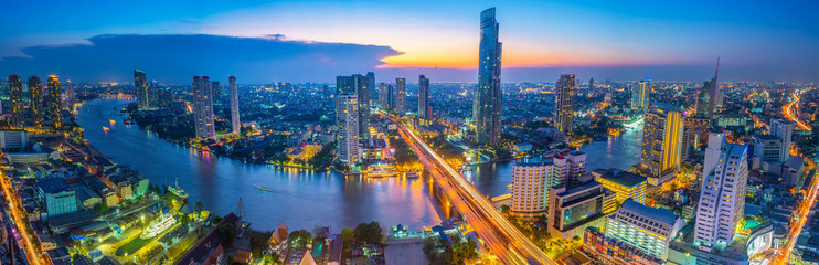 Wall Murals Night highway Landscape of river in Bangkok cityscape in night time