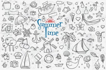 A large set of outline drawings on the theme summer. Summer Dood