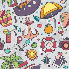 A colored vector texture with summer doodles