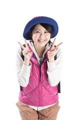 山ガール ピース 記念撮影