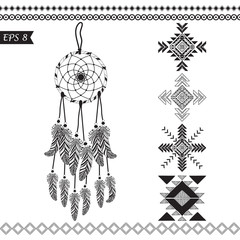 Hand drawn vector tribal elements.