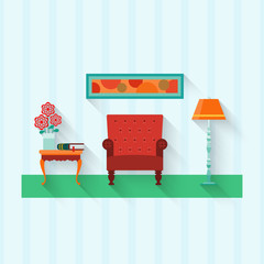 Living room with furniture  . Flat   style vector illustration.