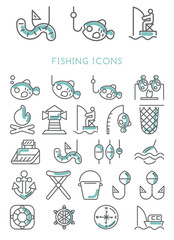 Fishing Icons set vector design