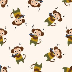 musical animal monkey icon 10,seamless pattern