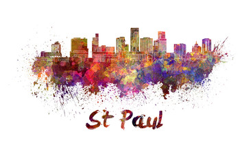 St Paul skyline in watercolor