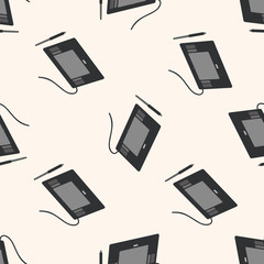 computer theme graphics tablet ,seamless pattern