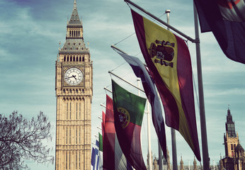 Wall Mural - Row of International Flags in front of Big Ben