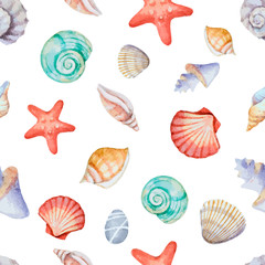 Watercolor seamless pattern with sea shells