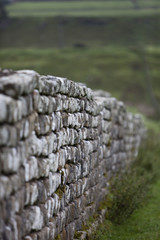A dry stone wall, a traditional stone wall in the Northumberland landscape.