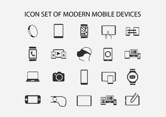 Vector icon set for modern mobile devices such as smartphone, tablet, smart watch