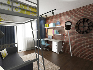a 3d render of a contemporary interior with a brick wall