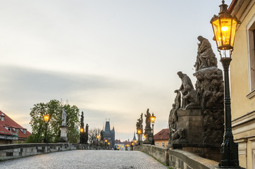 Wall Mural - Prague (Czech Republic). Charles (Karluv) Bridge in the sunrise