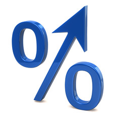 Blue growing percent sign
