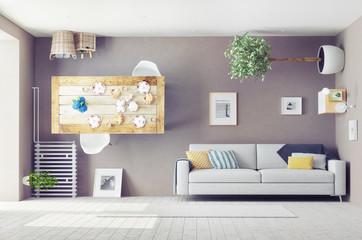 Fototapeta strange  interior. 3d concept obraz