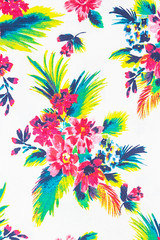 Colourful flower on fabric Background.