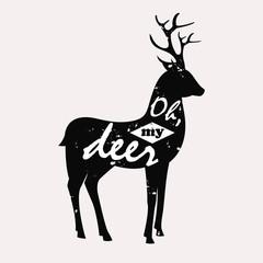 Grunge modern print or poster design with deer