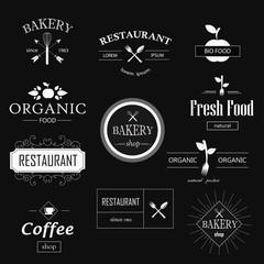 Vintage bakery, restaurant, organic food logotypes set