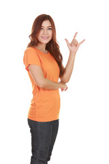 woman in t-shirt with hand sign I love you