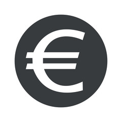 Monochrome round euro icon