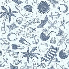 Vector beach seamless pattern. Summer background.