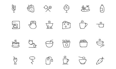Food Hand Drawn Outline Vector Icons 4