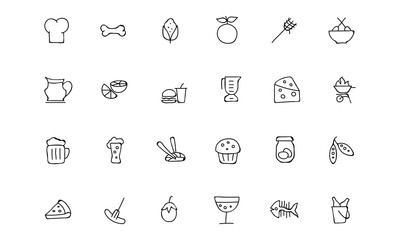 Food Hand Drawn Outline Vector Icons 5