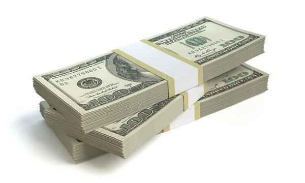 3d illustration of a stack of money