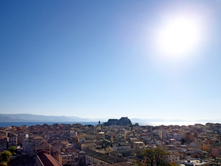 View of the town in the sunny day
