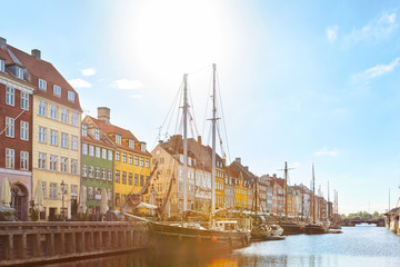 The Nyhavn harbour in a sunny day.