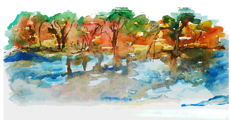 Watercolor nature landscape with lake and trees