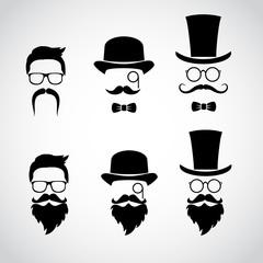 Retro gentleman icon set. Vector illustration.